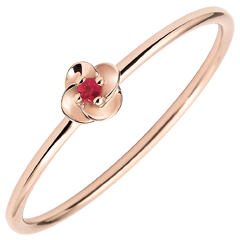 Ring Eclosion - First Rose - small model - pink gold and ruby - 18 carats