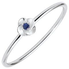 Ring Eclosion - First Rose - small model - white gold and sapphire - 18 carats