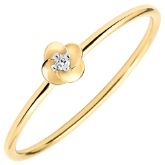 Ring Eclosion - First Rose - small model - yellow gold and diamond - 18 carats