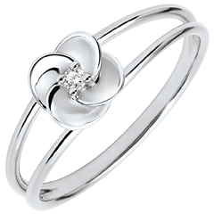 Ring Eclosion - First Rose - white gold and diamond - 9 carats