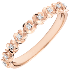 Ring Eclosion - Roses Crown - Small model - pink gold and diamonds - 18 carats