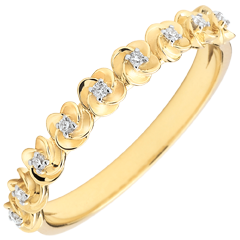 Ring Eclosion - Roses Crown - Small model - yellow gold and diamonds - 18 carats