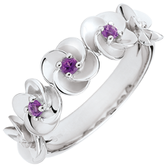 Ring Eclosion - Roses Crown - white gold and amethysts - 18 carats