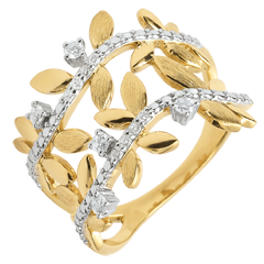 Ring Enchanted Garden - Foliage Royal - double - yellow gold and diamonds - 9 carats