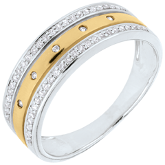 Ring Enchantment - Crown of Stars - large model - yellow gold, white gold and diamonds - 9 carat