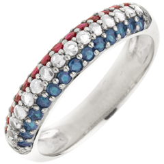 Ring French Flag - Gold, diamonds and precious stones