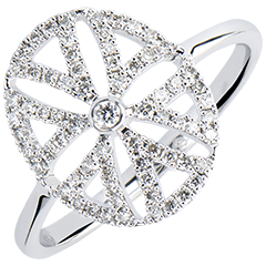 Ring Freshness - Arabesque variation - white gold 9 carats and diamonds