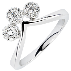 Ring Freshness - Boutures - white gold 9 carats and diamonds