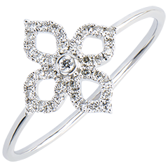 Ring Freshness - Lys - white gold 9 carats and diamonds