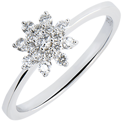 Ring Freshness - Peak Flower - white gold 9 carats and diamonds