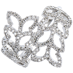 Ring Freshness - Willow Leaves - white gold 18 carats and diamonds