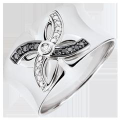 Ring Frische - Sommerlilie - Weißgold und schwarze Diamanten - 9 Karat