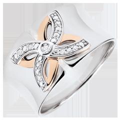 Ring Frisheid - Zomerbloem - wit goud , roze goud - 9 karaat