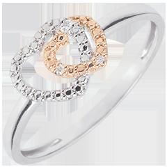 Ring Geweven Harten - tweekleurig goud met diamanten - 9 karaat witgoud en rozégoud