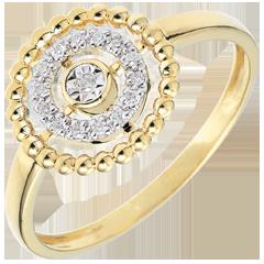 Ring Gezouten Bloem - Cirkel - geel goud - 18 karaat
