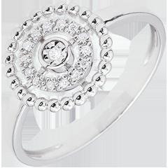 Ring Gezouten Bloem - Cirkel - wit goud - 18 karaat