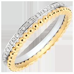 Ring Gezouten Bloem - dubbele rij - diamanten - geelgoud en witgoud 9 karaat