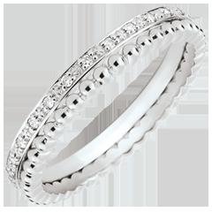 Ring Gezouten Bloem - dubbele rij - diamanten - witgoud 9 karaat