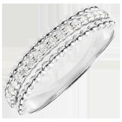 Ring Gezouten Bloem - twee ringen - wit goud - 18 karaat