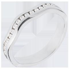 Ring Illusion zur Hälfte mit Diamanten besetzt in Weissgold - Kanalfassung - 16 Diamanten