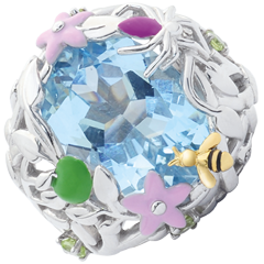 Ring Imaginary Walk - Blue Paradise - Silver, diamonds and fine stones
