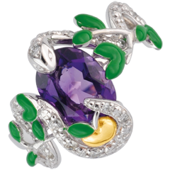 Ring Imaginary Walk - Eden's Snake Ring - Silver, diamonds and fine stones