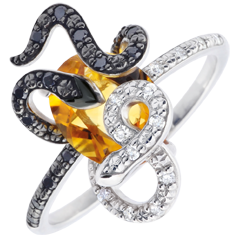 Ring Imaginary Walk - Gorgonia - Silver, diamonds and fine stones
