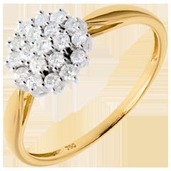 Ring Kaleidoskop in Gelbgold - 0.35 Karat - 19 Diamanten