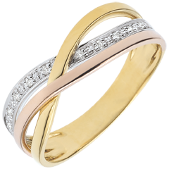 Ring Kleiner Saturn - Dreierlei Gold und Diamanten - 18 Karat