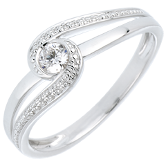 Ring Kostbarer Kokon - Teuerste - Weißgold - Diamant 0.12 Karat - 9 Karat