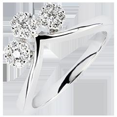 Ring Lentekriebels - Lenteknoppen - 9 karaat witgoud met Diamanten