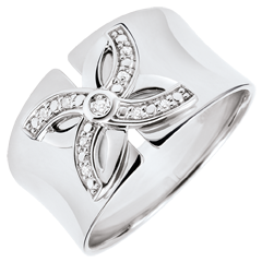 Ring Lentekriebels - Zomerbloem - 18 karaat witgoud met Diamanten