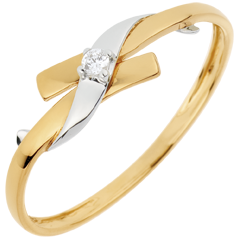 Ring Liefdesnest - Paradijs - 0.02 karaat Diamant witgoud en 18 karaat geelgoud