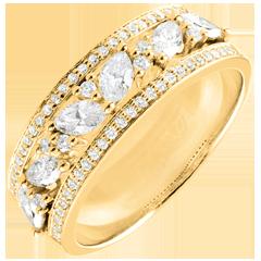 Ring Lotsbestemming - Byzantijns - Geel goud en diamanten - 18 karaat