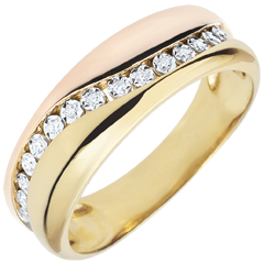 Ring Love - Multi-diamonds - rose gold and yellow gold - 18 carat