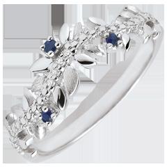 Ring Magische Tuin - Gebladerte Royal - 9 karaat witgoud, Diamant en Saffieren - 9 karaat