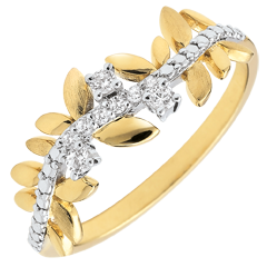 Ring Magische Tuin - Gebladerte Royal - groot model - Diamanten en 18 karaat geelgoud