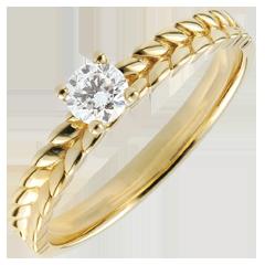 Ring Magische Tuin - Vlecht Solitair - geel goud - - 0,2 karaat - 18 karaat