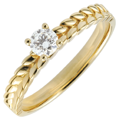 Ring Magische Tuin - Vlecht Solitair - geel goud - - 0,2 karaat - 9 karaat