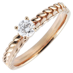 Ring Magische Tuin - Vlecht Solitaire - rozégoud - - 0,2 karaat - 18 karaat