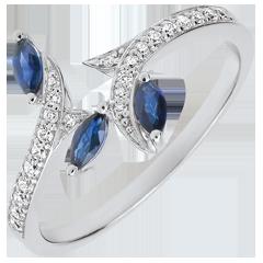 Ring Mysterieus Bos - 18 karaat witgoud, Diamanten en zaadjes in Saffier - 9 karaat