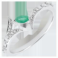 Ring Mysterieus Bos - 18 karaat witgoud en zaadje in emerald - 18 karaat
