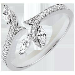 Ring Mysterieus Bos - wit goud en zaadjes in diamant - 9 karaat