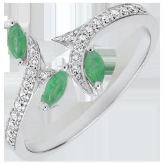 Ring Mysteriöser Wald - Weißgold, Diamanten und Marquise smaragde - 9 Karat
