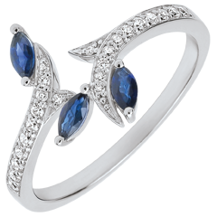 Ring Mysterious Woods - white gold and sapphires boats - 18 carats