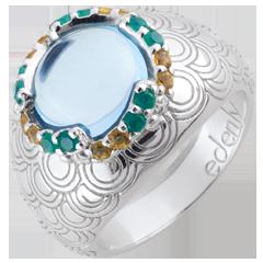 Ring Nausitha - zilver en edelstenen