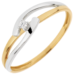 Ring Nid Précieux - Tweekleurig Unie - Geel Goud Wit Goud - 0.02 karaats - 18 karaat