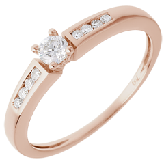 Ring Octave rozégoud - Diamant 0.13 karaat - 18 karaat goud