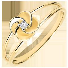 Ring Ontluiken - Eerste roze - geel goud en diamant - 9 karaat