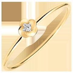 Ring Ontluiken - Eerste roze - klein model - geel goud en diamant - 18 karaat
